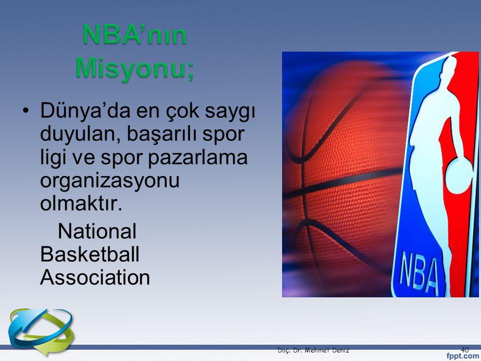 Dünya'da en çok saygı duyulan, başarılı spor ligi ve spor pazarlama organizasyonu olmaktır.