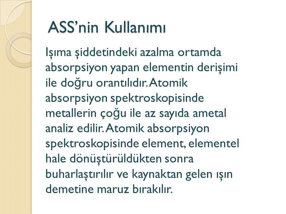 ASS'nin Kullanımı Işıma şiddetindeki azalma ortamda absorpsiyon yapan elementin derişimi ile do ğ ru orantılıdır. Atomik absorpsiyon spektroskopisinde