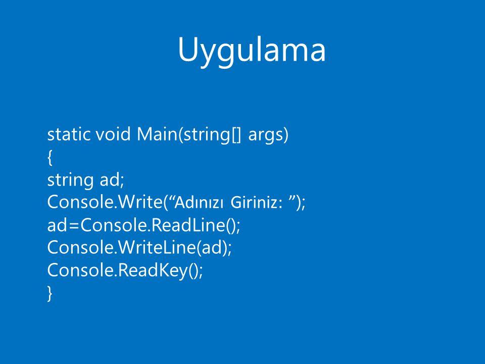 Uygulama static void Main(string[] args) { string ad; Console.Write( Adınızı Giriniz: ); ad=Console.ReadLine(); Console.WriteLine(ad); Console.ReadKey(); }