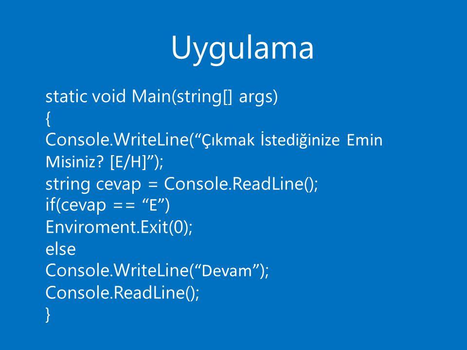 Uygulama static void Main(string[] args) { Console.WriteLine( Çıkmak İstediğinize Emin Misiniz.