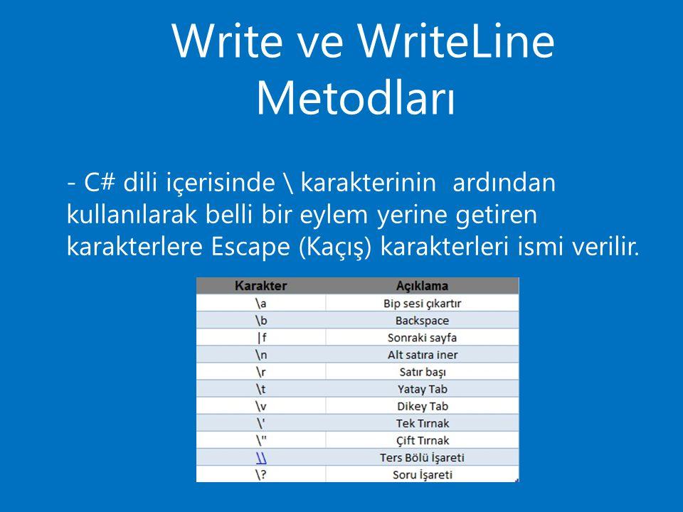 Write ve WriteLine Metodları - C# dili içerisinde \ karakterinin ardından kullanılarak belli bir eylem yerine getiren karakterlere Escape (Kaçış) karakterleri ismi verilir.