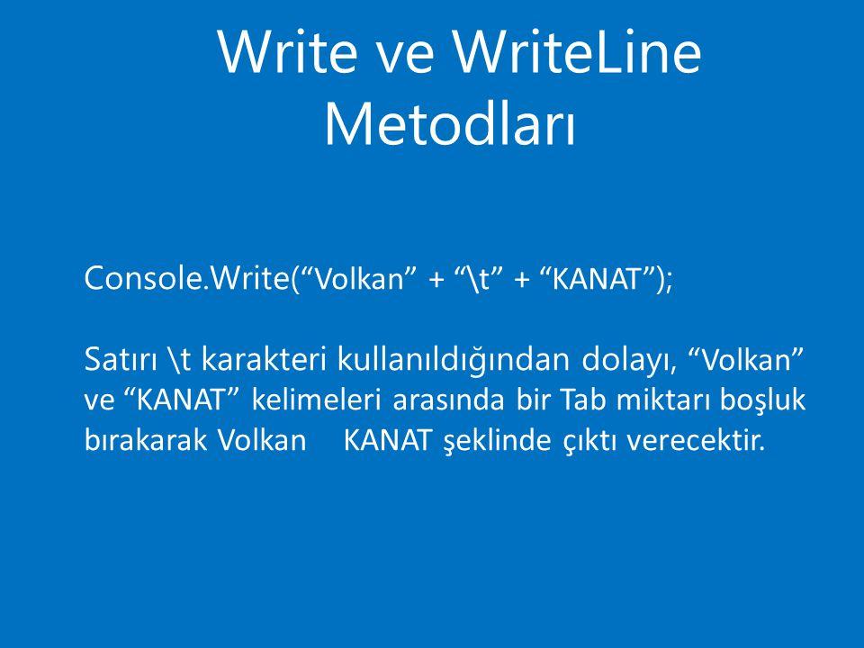 Write ve WriteLine Metodları Console.Write( Volkan + \t + KANAT ); Satırı \t karakteri kullanıldığından dolayı, Volkan ve KANAT kelimeleri arasında bir Tab miktarı boşluk bırakarak VolkanKANAT şeklinde çıktı verecektir.