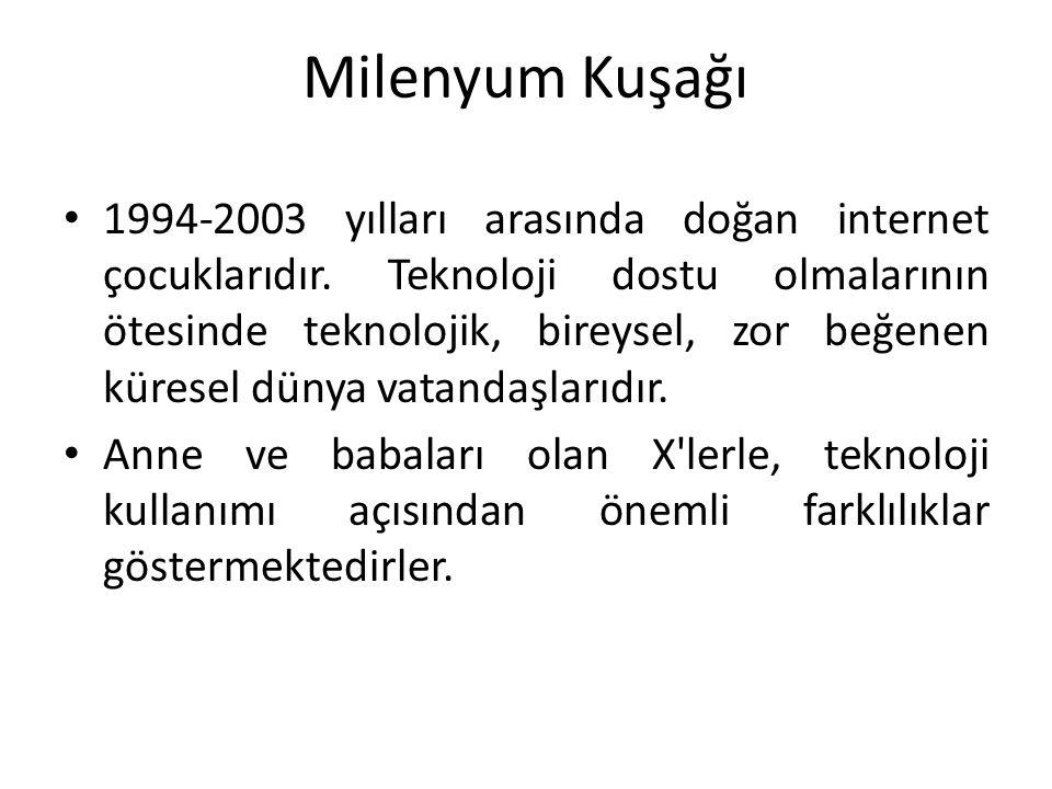 Milenyum Kuşağı 1994-2003 yılları arasında doğan internet çocuklarıdır. Teknoloji dostu olmalarının ötesinde teknolojik, bireysel, zor beğenen küresel