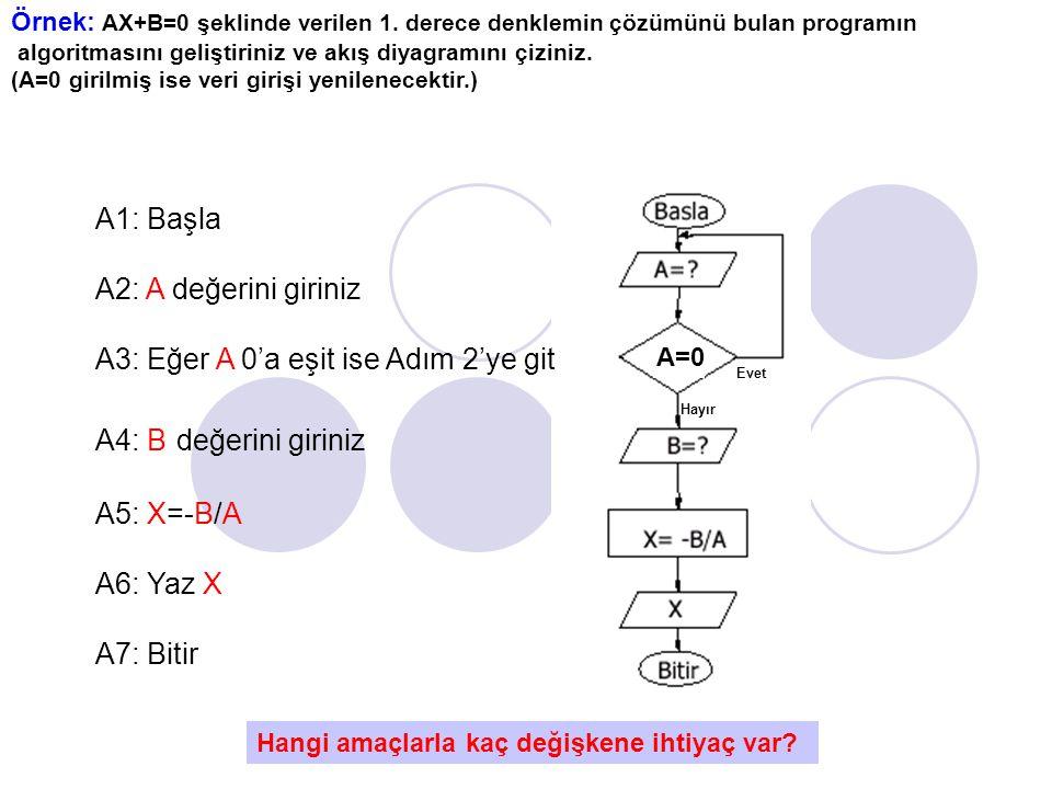Örnek: AX+B=0 şeklinde verilen 1.