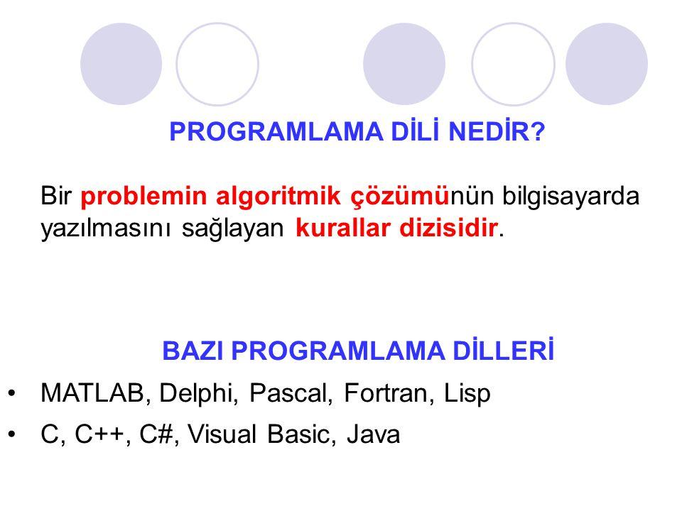 PROGRAMLAMA DİLİ NEDİR? Bir problemin algoritmik çözümünün bilgisayarda yazılmasını sağlayan kurallar dizisidir. BAZI PROGRAMLAMA DİLLERİ MATLAB, Delp