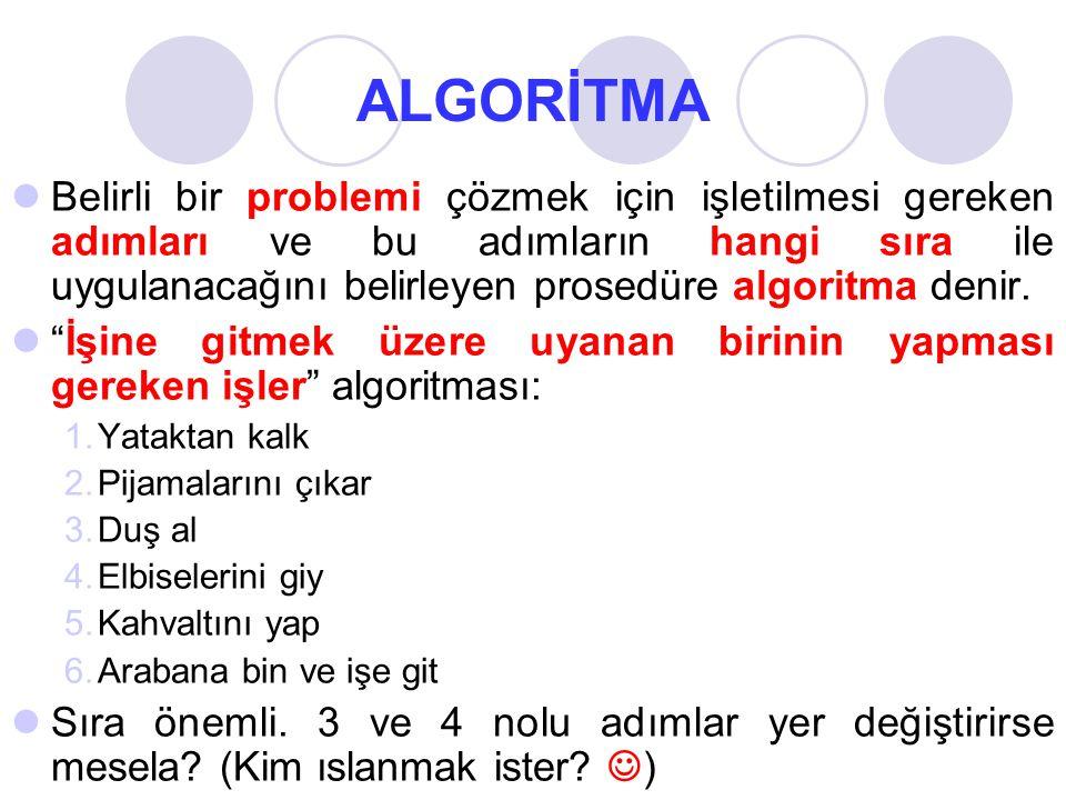 ALGORİTMA Belirli bir problemi çözmek için işletilmesi gereken adımları ve bu adımların hangi sıra ile uygulanacağını belirleyen prosedüre algoritma denir.