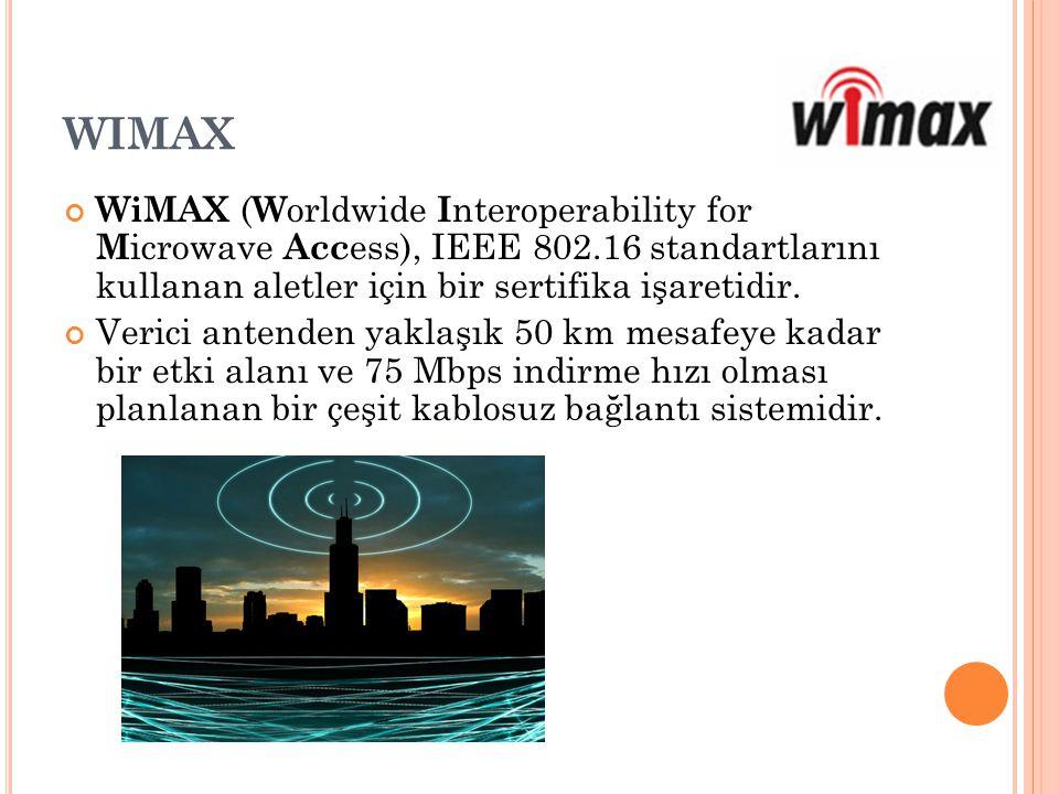 WIMAX WiMAX ( W orldwide I nteroperability for M icrowave Acc ess), IEEE 802.16 standartlarını kullanan aletler için bir sertifika işaretidir. Verici