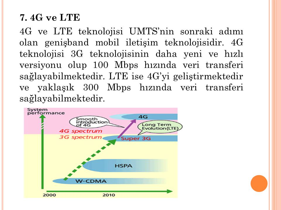 7. 4G ve LTE 4G ve LTE teknolojisi UMTS'nin sonraki adımı olan genişband mobil iletişim teknolojisidir. 4G teknolojisi 3G teknolojisinin daha yeni ve
