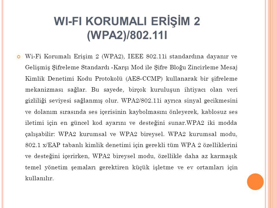 WI-FI KORUMALI ERİŞİM 2 (WPA2)/802.11I Wi-Fi Korumalı Erişim 2 (WPA2), IEEE 802.11i standardına dayanır ve Gelişmiş Şifreleme Standardı -Karşı Mod ile
