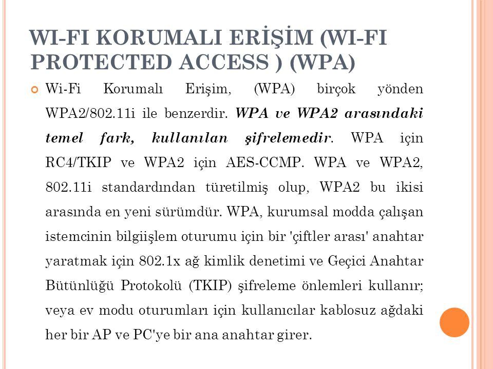 WI-FI KORUMALI ERİŞİM (WI-FI PROTECTED ACCESS ) (WPA) Wi-Fi Korumalı Erişim, (WPA) birçok yönden WPA2/802.11i ile benzerdir. WPA ve WPA2 arasındaki te