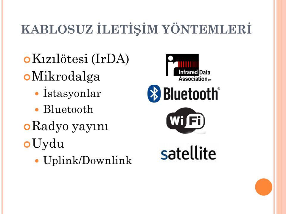 KABLOSUZ İLETİŞİM YÖNTEMLERİ Kızılötesi (IrDA) Mikrodalga İstasyonlar Bluetooth Radyo yayını Uydu Uplink/Downlink