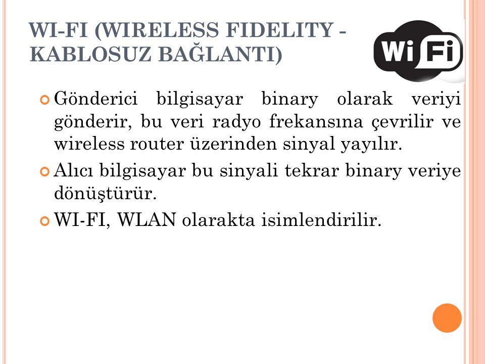 WI-FI (WIRELESS FIDELITY - KABLOSUZ BAĞLANTI) Gönderici bilgisayar binary olarak veriyi gönderir, bu veri radyo frekansına çevrilir ve wireless router
