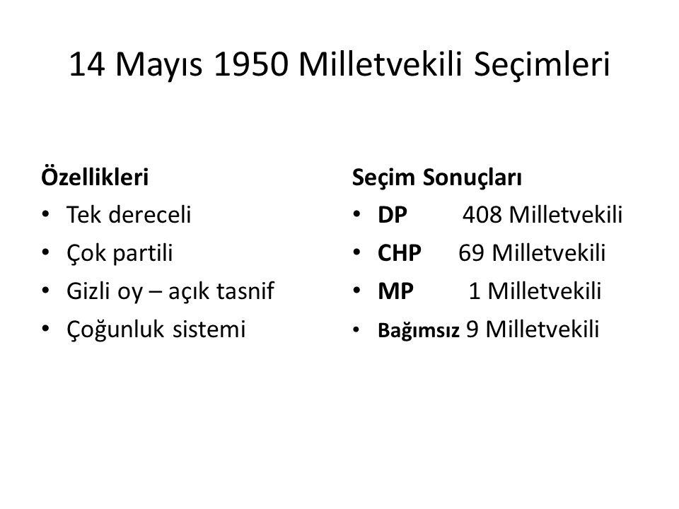 DEMOKRAT PARTİ DÖNEMİ 1950 - 1960
