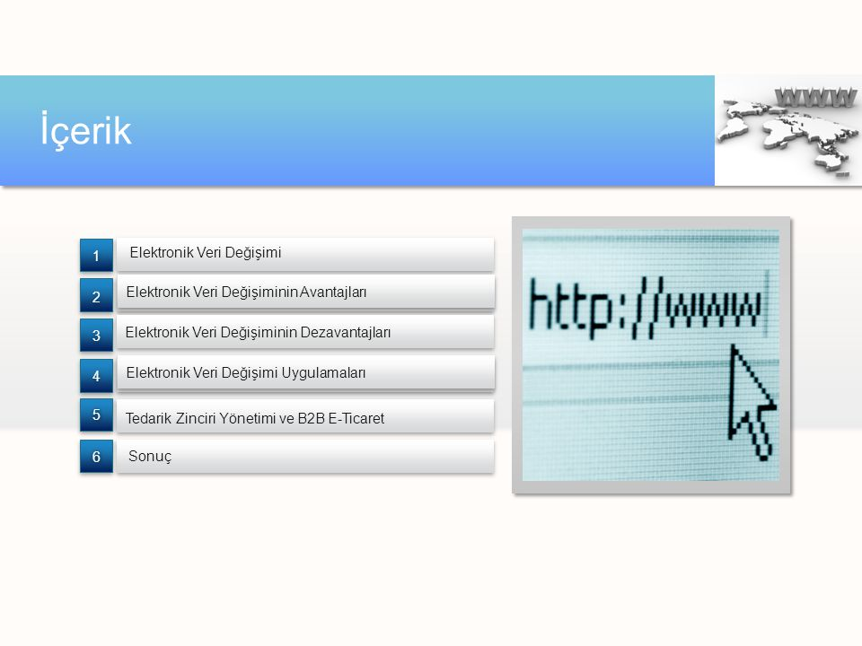 İçerik Elektronik Veri Değişimi Sonuç Tedarik Zinciri Yönetimi ve B2B E-Ticaret 66 55 4 4 3 3 2 2 1 1 Elektronik Veri Değişimi Uygulamaları Elektronik