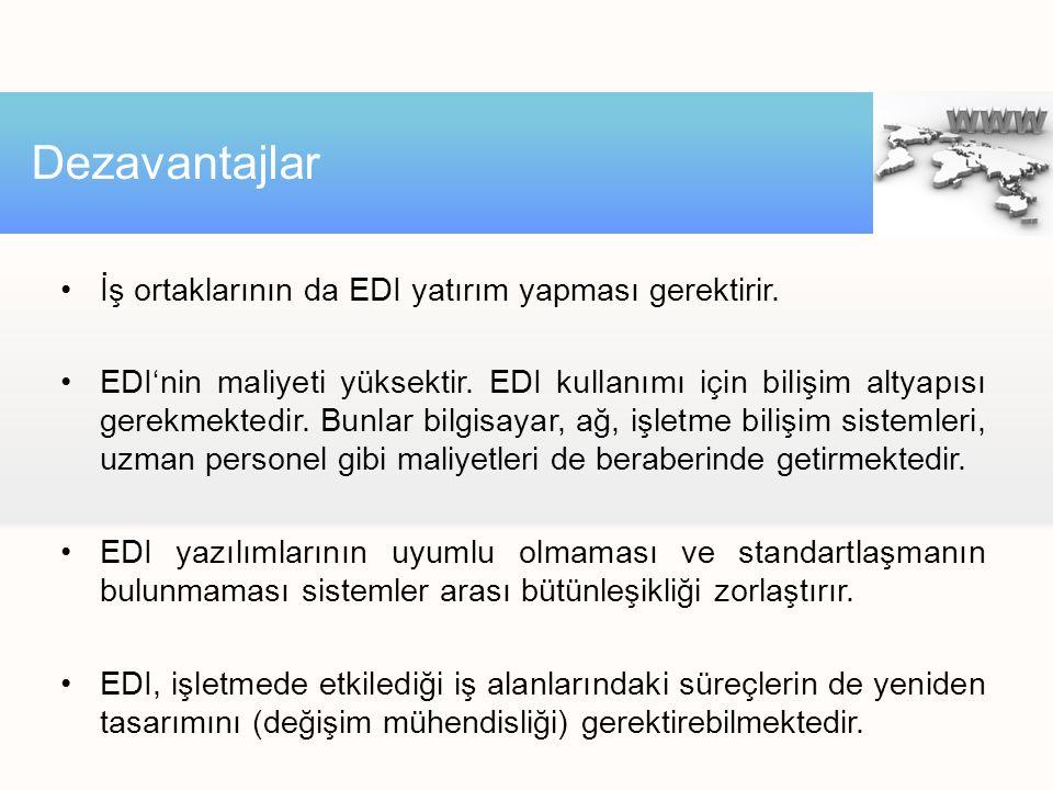 İş ortaklarının da EDI yatırım yapması gerektirir. EDI'nin maliyeti yüksektir. EDI kullanımı için bilişim altyapısı gerekmektedir. Bunlar bilgisayar,