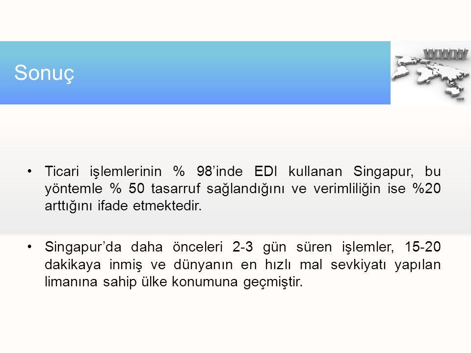 Ticari işlemlerinin % 98'inde EDI kullanan Singapur, bu yöntemle % 50 tasarruf sağlandığını ve verimliliğin ise %20 arttığını ifade etmektedir. Singap