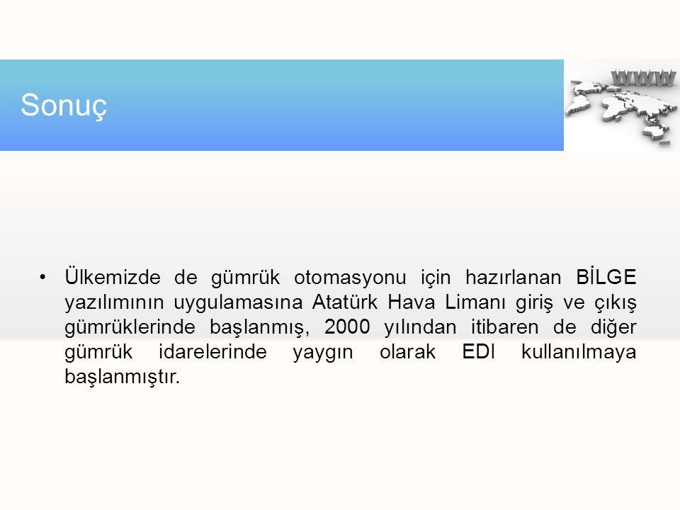 Ülkemizde de gümrük otomasyonu için hazırlanan BİLGE yazılımının uygulamasına Atatürk Hava Limanı giriş ve çıkış gümrüklerinde başlanmış, 2000 yılında