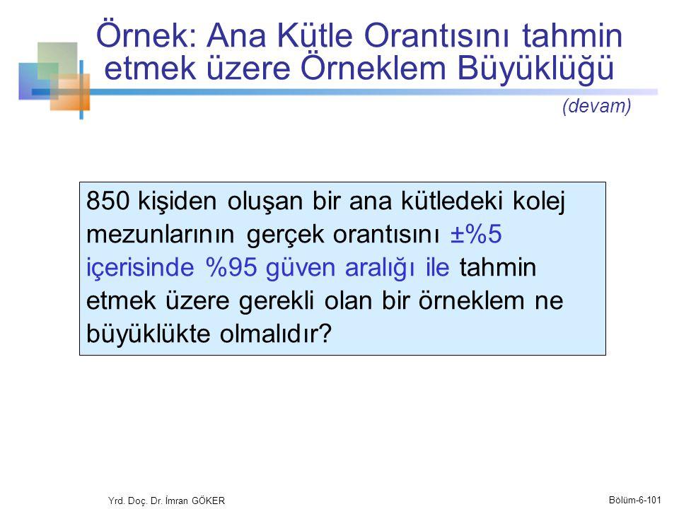 Örnek: Ana Kütle Orantısını tahmin etmek üzere Örneklem Büyüklüğü Yrd. Doç. Dr. İmran GÖKER Bölüm-6-101 (devam) 850 kişiden oluşan bir ana kütledeki k