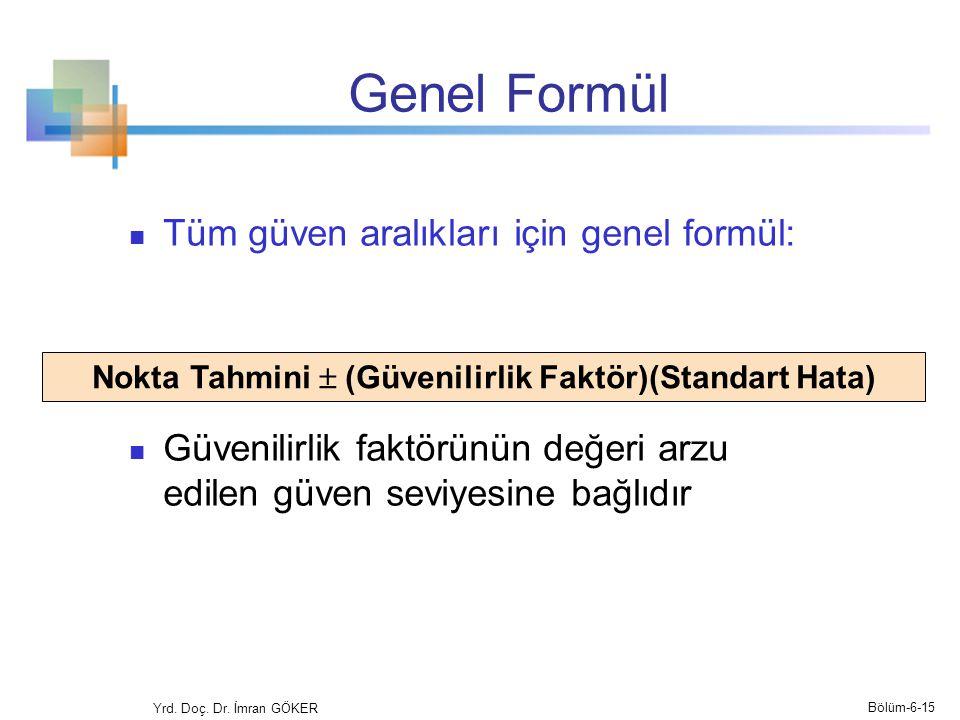 Genel Formül Tüm güven aralıkları için genel formül: Güvenilirlik faktörünün değeri arzu edilen güven seviyesine bağlıdır Nokta Tahmini  (Güvenilirli