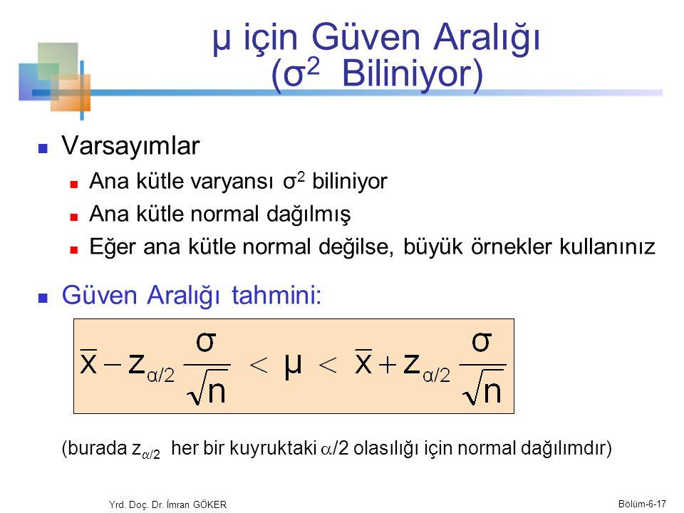 μ için Güven Aralığı (σ 2 Biliniyor) Varsayımlar Ana kütle varyansı σ 2 biliniyor Ana kütle normal dağılmış Eğer ana kütle normal değilse, büyük örnek