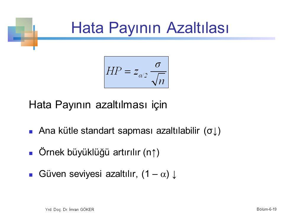 Hata Payının Azaltılası Hata Payının azaltılması için Ana kütle standart sapması azaltılabilir (σ↓) Örnek büyüklüğü artırılır (n↑) Güven seviyesi azal