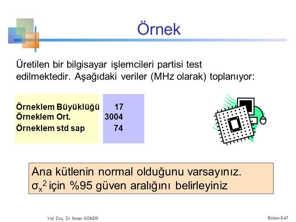 Örnek Üretilen bir bilgisayar işlemcileri partisi test edilmektedir. Aşağıdaki veriler (MHz olarak) toplanıyor: Örneklem Büyüklüğü 17 Örneklem Ort. 30