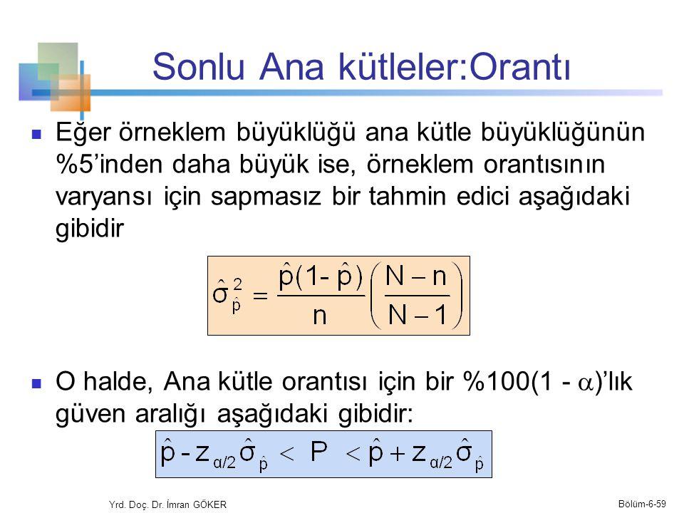 Sonlu Ana kütleler:Orantı Eğer örneklem büyüklüğü ana kütle büyüklüğünün %5'inden daha büyük ise, örneklem orantısının varyansı için sapmasız bir tahm