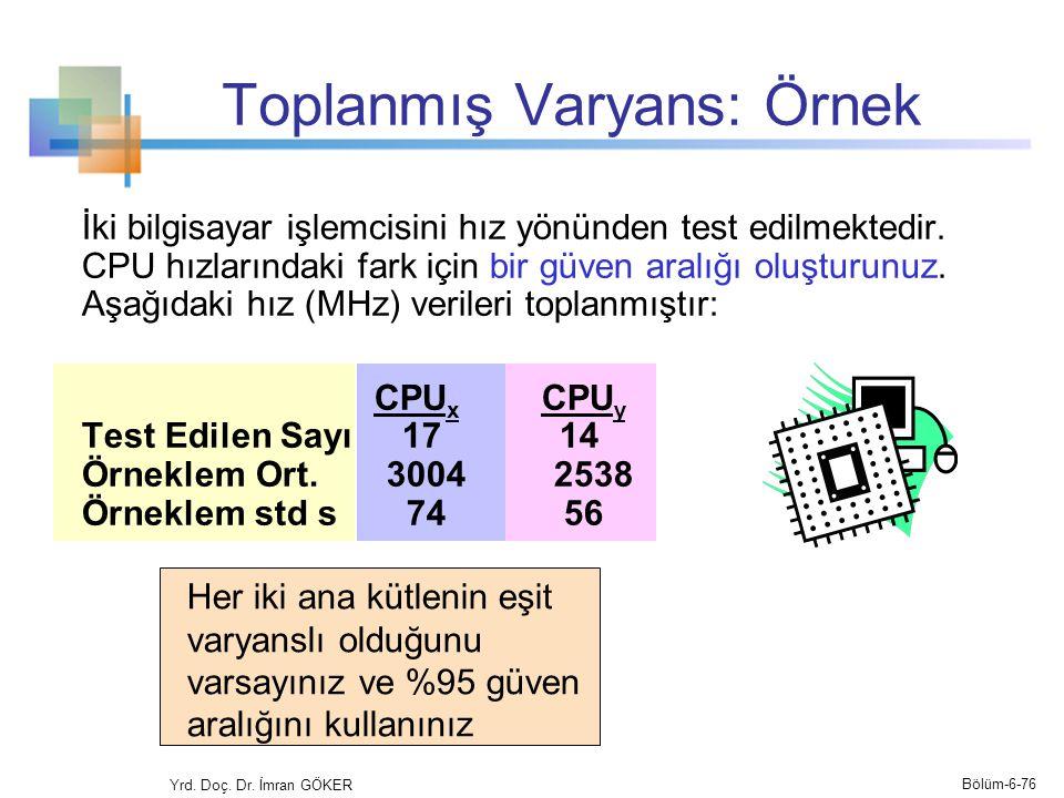 Toplanmış Varyans: Örnek İki bilgisayar işlemcisini hız yönünden test edilmektedir. CPU hızlarındaki fark için bir güven aralığı oluşturunuz. Aşağıdak