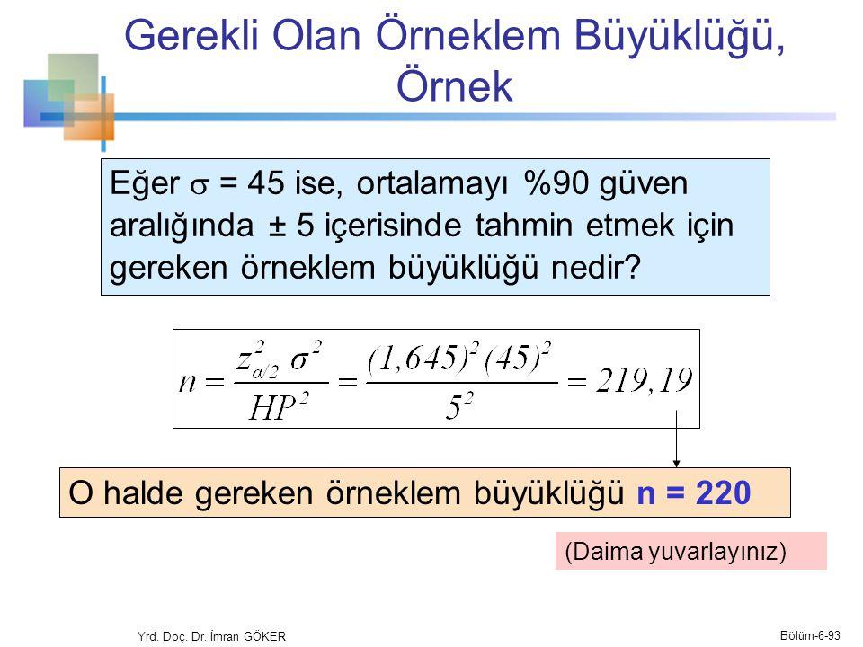 Gerekli Olan Örneklem Büyüklüğü, Örnek Eğer  = 45 ise, ortalamayı %90 güven aralığında ± 5 içerisinde tahmin etmek için gereken örneklem büyüklüğü ne