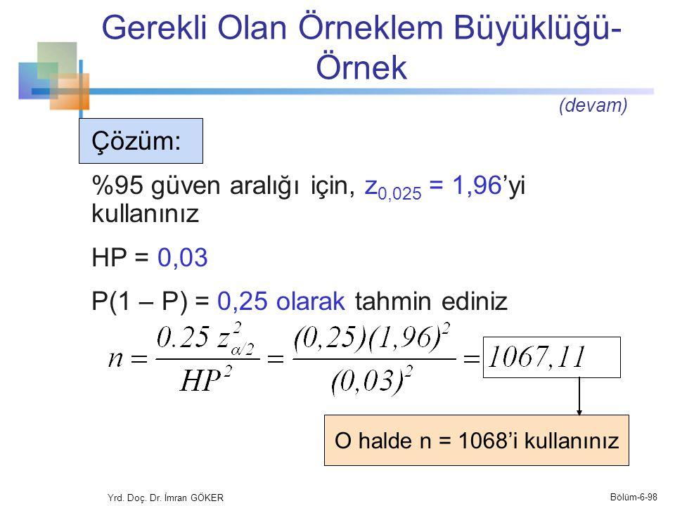 Gerekli Olan Örneklem Büyüklüğü- Örnek Yrd. Doç. Dr. İmran GÖKER Çözüm: %95 güven aralığı için, z 0,025 = 1,96'yi kullanınız HP = 0,03 P(1 – P) = 0,25
