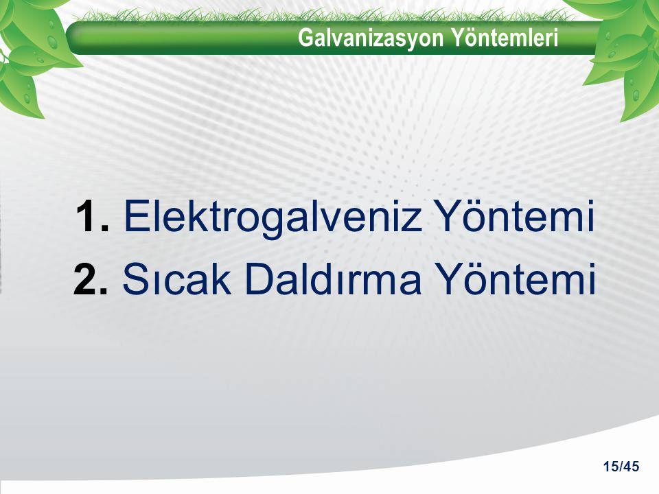 Galvanizasyon Yöntemleri 1. Elektrogalveniz Yöntemi 2. Sıcak Daldırma Yöntemi 15/45