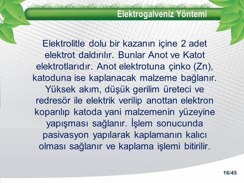 Elektrogalveniz Yöntemi Elektrolitle dolu bir kazanın içine 2 adet elektrot daldırılır. Bunlar Anot ve Katot elektrotlarıdır. Anot elektrotuna çinko (