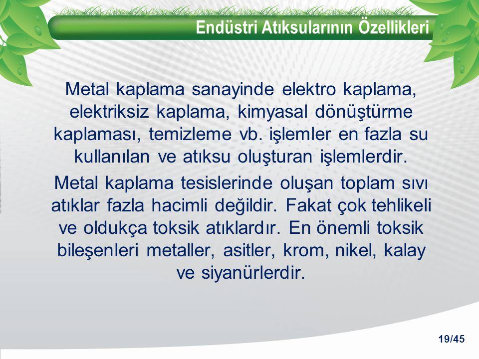Endüstri Atıksularının Özellikleri Metal kaplama sanayinde elektro kaplama, elektriksiz kaplama, kimyasal dönüştürme kaplaması, temizleme vb. işlemler