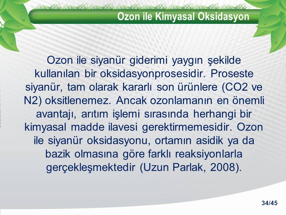 Ozon ile Kimyasal Oksidasyon Ozon ile siyanür giderimi yaygın şekilde kullanılan bir oksidasyonprosesidir. Proseste siyanür, tam olarak kararlı son ür