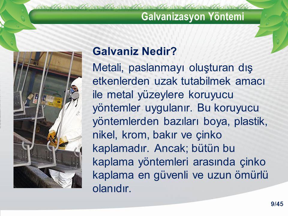 Galvanizasyon Yöntemi Galvaniz Nedir? Metali, paslanmayı oluşturan dış etkenlerden uzak tutabilmek amacı ile metal yüzeylere koruyucu yöntemler uygula