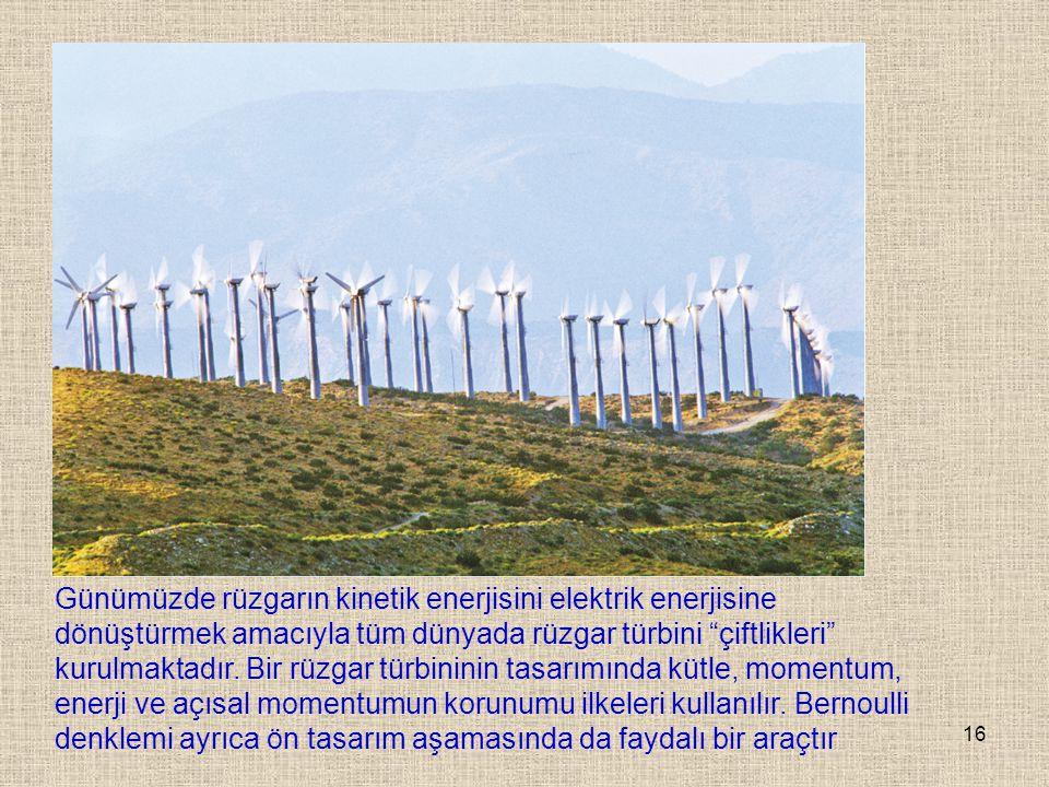"""16 Günümüzde rüzgarın kinetik enerjisini elektrik enerjisine dönüştürmek amacıyla tüm dünyada rüzgar türbini """"çiftlikleri"""" kurulmaktadır. Bir rüzgar t"""