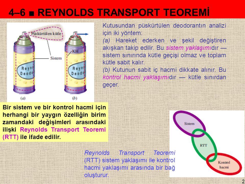 2 4–6 ■ REYNOLDS TRANSPORT TEOREMİ Kutusundan püskürtülen deodorantın analizi için iki yöntem: (a) Hareket ederken ve şekil değiştiren akışkan takip e