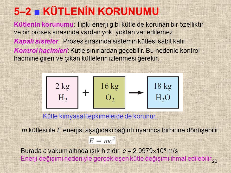 22 5–2 ■ KÜTLENİN KORUNUMU Kütle kimyasal tepkimelerde de korunur. Kütlenin korunumu: Tıpkı enerji gibi kütle de korunan bir özelliktir ve bir proses