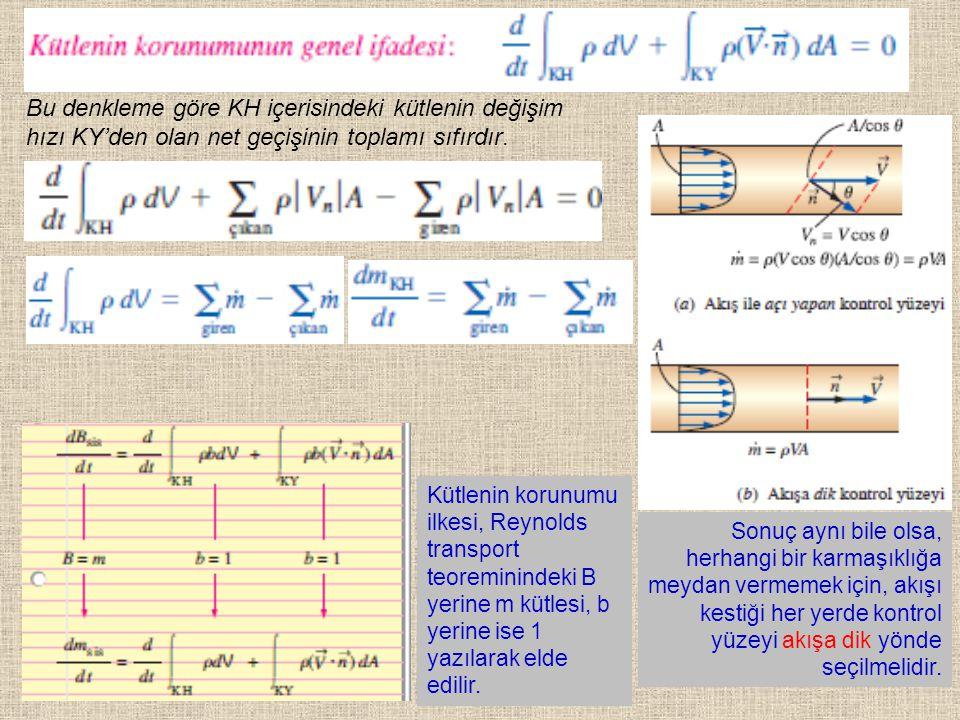 27 Kütlenin korunumu ilkesi, Reynolds transport teoreminindeki B yerine m kütlesi, b yerine ise 1 yazılarak elde edilir. Bu denkleme göre KH içerisind