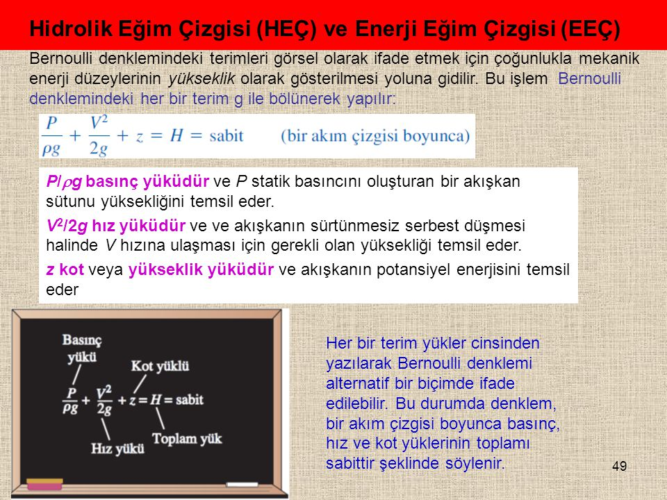49 Hidrolik Eğim Çizgisi (HEÇ) ve Enerji Eğim Çizgisi (EEÇ) Bernoulli denklemindeki terimleri görsel olarak ifade etmek için çoğunlukla mekanik enerji