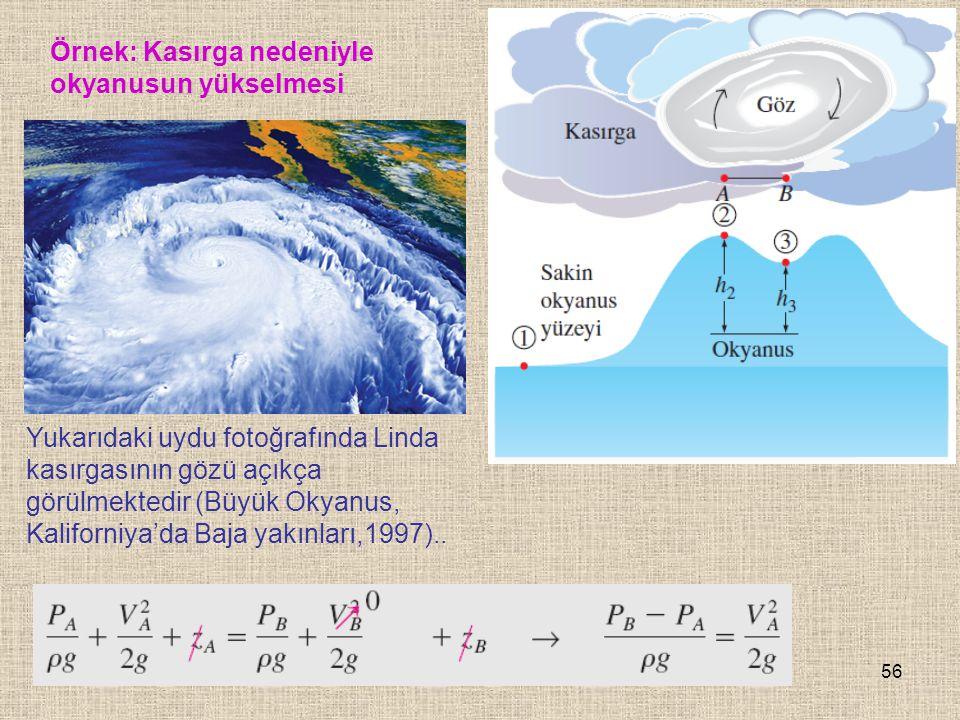 56 Örnek: Kasırga nedeniyle okyanusun yükselmesi Yukarıdaki uydu fotoğrafında Linda kasırgasının gözü açıkça görülmektedir (Büyük Okyanus, Kaliforniya