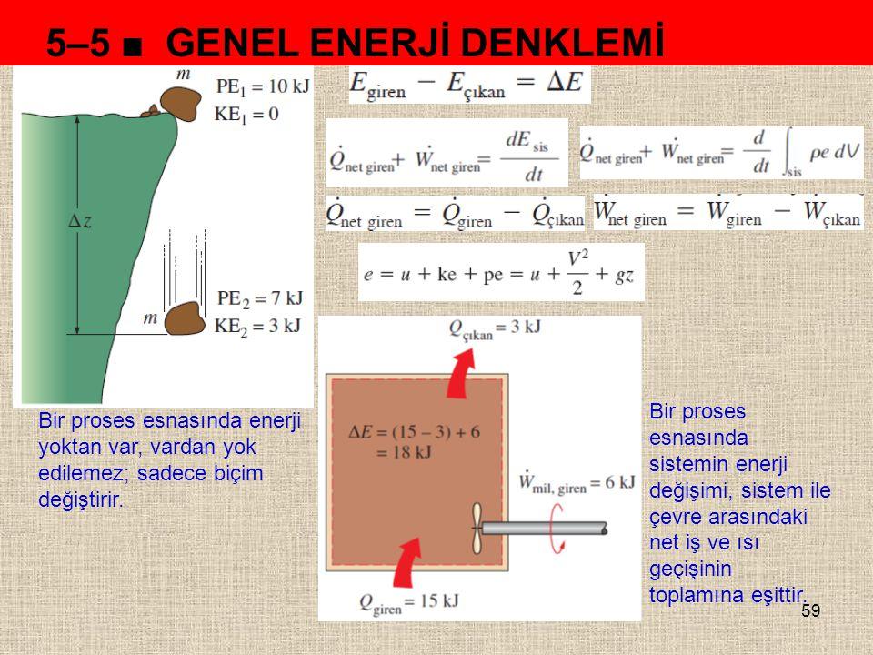 59 5–5 ■ GENEL ENERJİ DENKLEMİ Bir proses esnasında enerji yoktan var, vardan yok edilemez; sadece biçim değiştirir. Bir proses esnasında sistemin ene