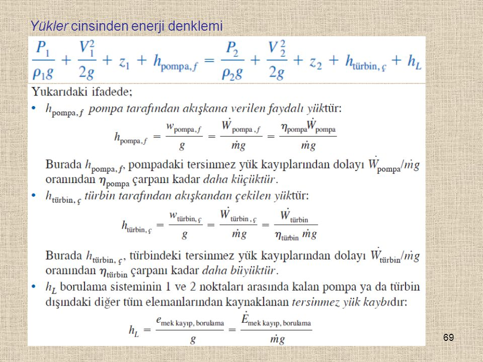69 Yükler cinsinden enerji denklemi