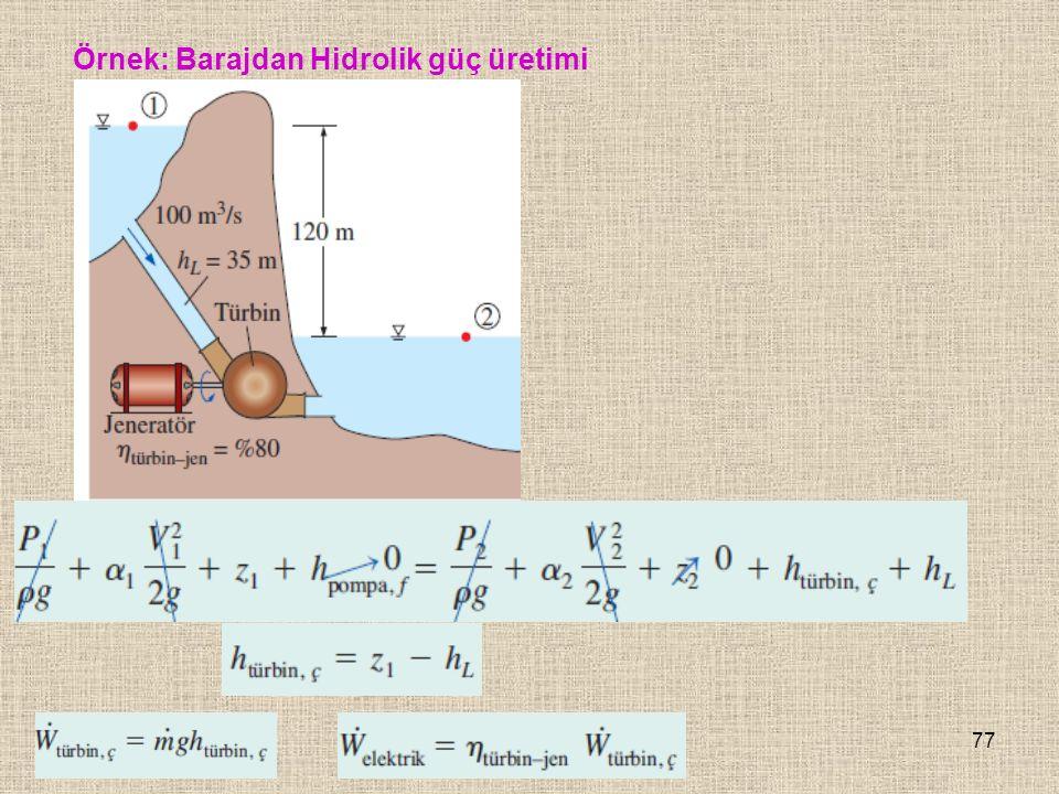 77 Örnek: Barajdan Hidrolik güç üretimi
