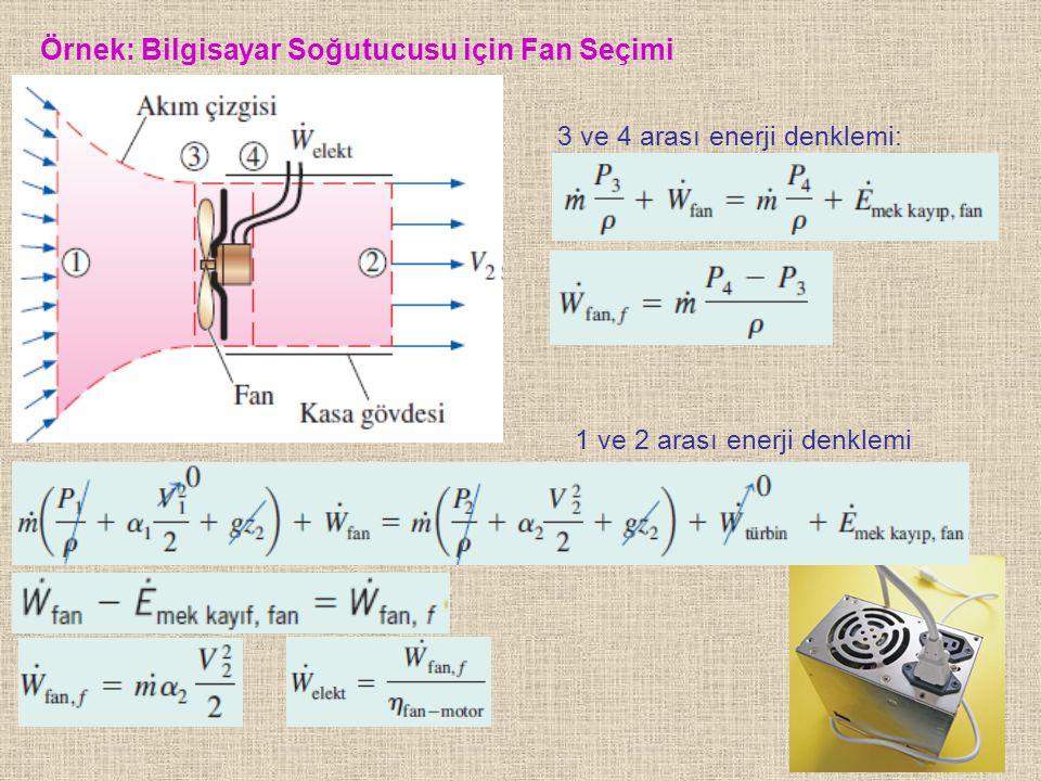 78 Örnek: Bilgisayar Soğutucusu için Fan Seçimi 3 ve 4 arası enerji denklemi: 1 ve 2 arası enerji denklemi