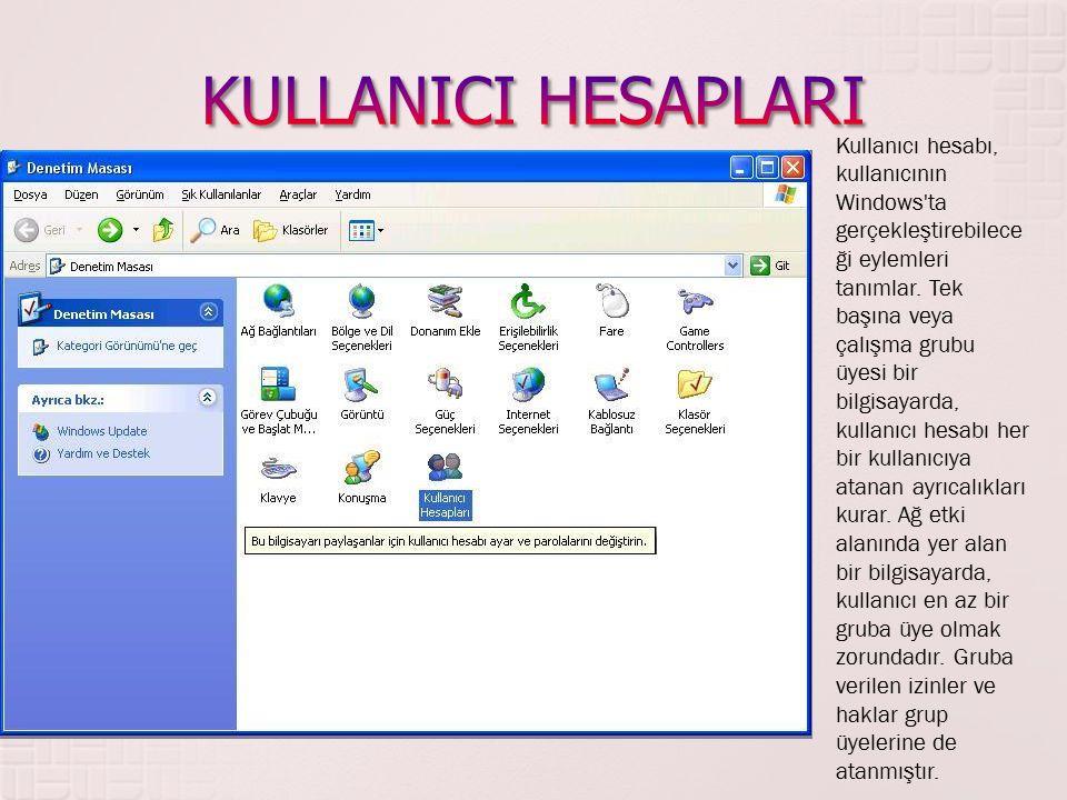 Kullanıcı hesabı, kullanıcının Windows'ta gerçekleştirebilece ği eylemleri tanımlar. Tek başına veya çalışma grubu üyesi bir bilgisayarda, kullanıcı h