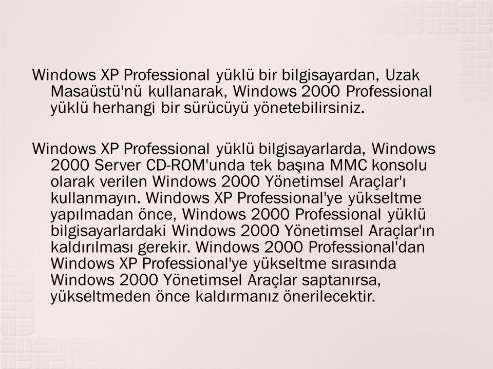 Windows XP Professional yüklü bir bilgisayardan, Uzak Masaüstü'nü kullanarak, Windows 2000 Professional yüklü herhangi bir sürücüyü yönetebilirsiniz.