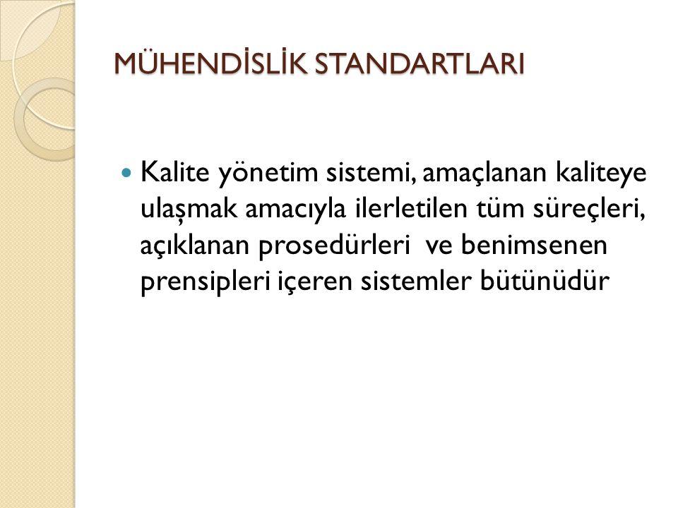 MÜHEND İ SL İ K STANDARTLARI Kalite yönetim sistemi, amaçlanan kaliteye ulaşmak amacıyla ilerletilen tüm süreçleri, açıklanan prosedürleri ve benimsen