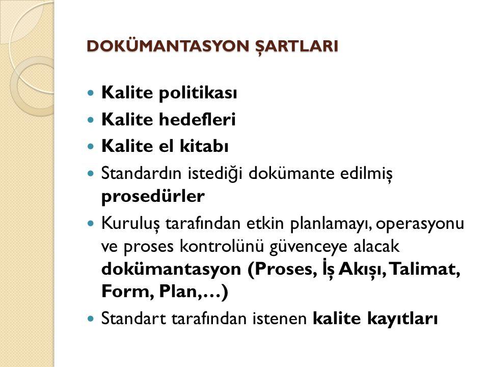 DOKÜMANTASYON ŞARTLARI DOKÜMANTASYON ŞARTLARI Kalite politikası Kalite hedefleri Kalite el kitabı Standardın istedi ğ i dokümante edilmiş prosedürler