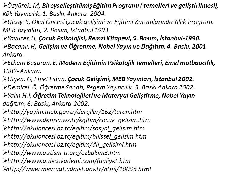  Özyürek. M, Bireyselleştirilmiş Eğitim Programı ( temelleri ve geliştirilmesi), Kök Yayıncılık, 1. Baskı, Ankara–2004.  Ulcay. S, Okul Öncesi Çocuk